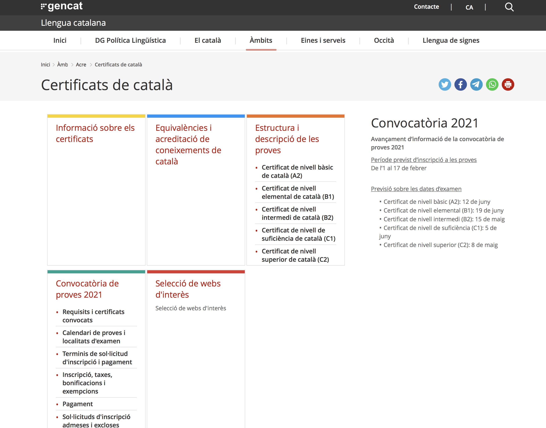 Impressió de pantalla del web on podeu consultar tota la informació actualitzada dels certificats de català